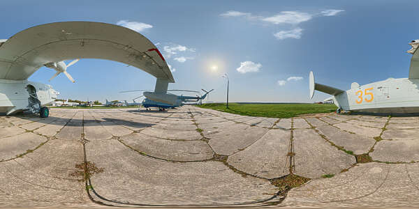 Panorama HDR HDRi lightprobe panoramic high dynamic range spherical 360 outdoor aviation airplane aircraft landing stripe air runway blue sky clouded sunny