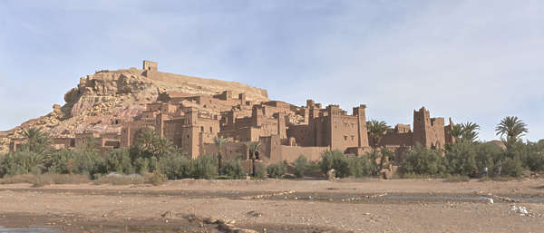 morocco landscape panorama ait benhaddou village medieval mountain fortress kasbah dry arid background