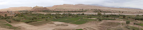 morocco landscape panorama background valley oasis ait benhaddoe kasbah dry arid