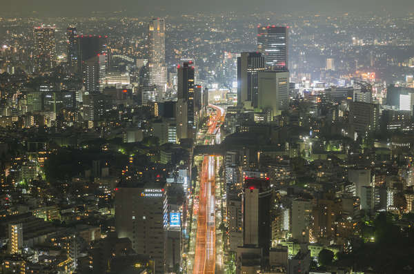 aerial city buildings landscape background panorama night dark skyline metropolis Tokyo Japan location: Mori building