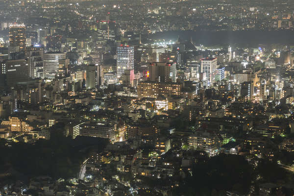 aerial city buildings landscape background night dark skyline metropolis Tokyo Japan location: Mori building