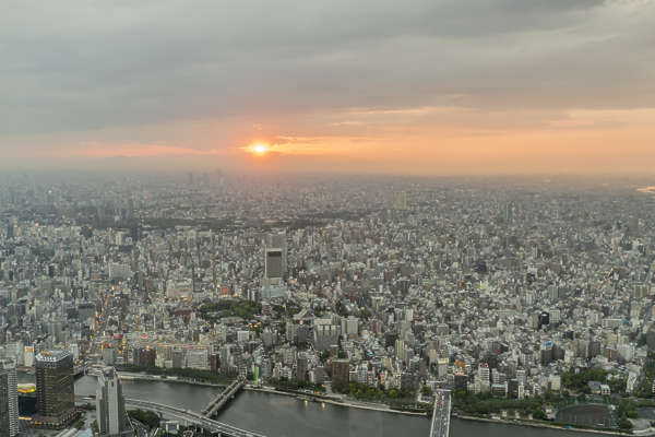 aerial city buildings landscape background japan sunset location:skytree
