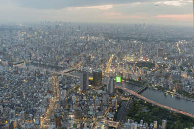 aerial city buildings landscape background dusk japan location:skytree