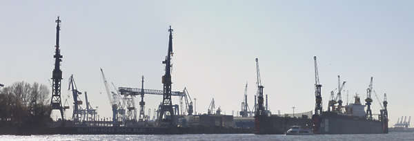 background backdrop harbor vista matte industrial cranes