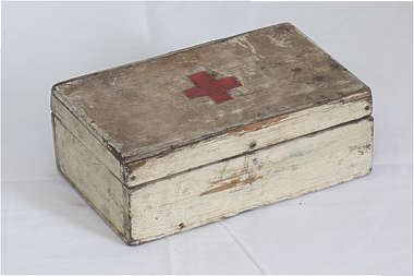 medkit small box wooden shelf healthkit medicine cabinet vintage old