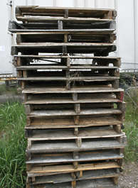 pallets stack wood cargo