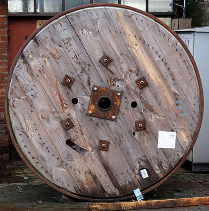cable spool wood planks cargo
