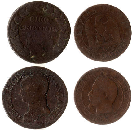 money coin coins old france centimes