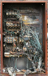 electric box electrics damaged broken burned fuse fuses fusebox