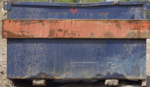 metal container dirty scratches logo paint rust dumpster