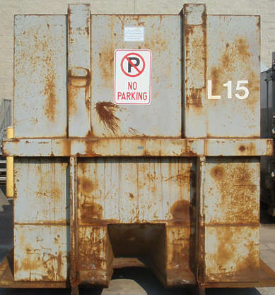 container metal rust paint garbage dumpster