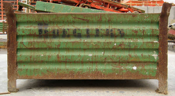 container trash rubble garbage metal rusted box dumpster
