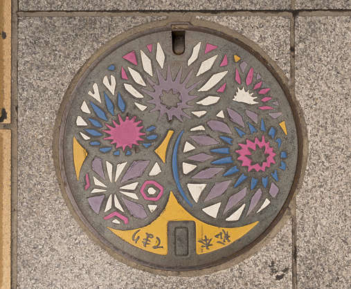 sewer lid manhole metal round japan
