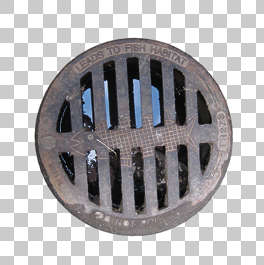 sewer lid manhole round grate isolated masked alpha