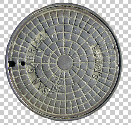 sewer lid big manhole round metal isolated