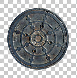 manhole sewer round lid small big isolated masked alpha