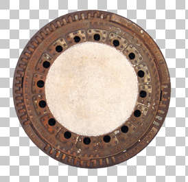 sewer manhole round big metal lid isolated masked alpha