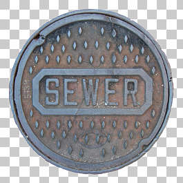 sewer lid round metal big manhole isolated masked alpha