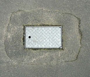 sewer lid rectangle asphalt road masked isolated alpha