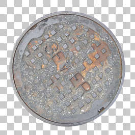 sewer manhole lid round big isolated masked alpha