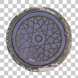 manhole sewer round lid small isolated masked alpha