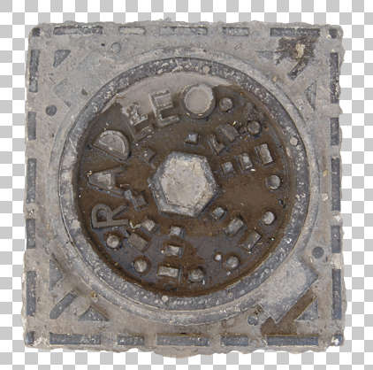 sewer lid small round circle