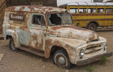 USA nelson ghost town ghosttown vehicle car 30s american truck wreck old rusted classic vintage