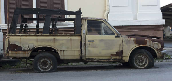 thailand bangkok asia asian pickup vehicle old rusted dirty car automobile