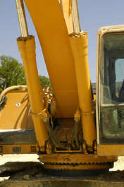machine vehicle digger construction pneumatics arm scoop track tracked tracks excavator