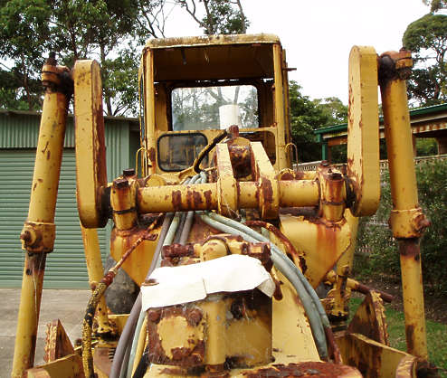 vehicle bulldozer truck maintenance road old rusted