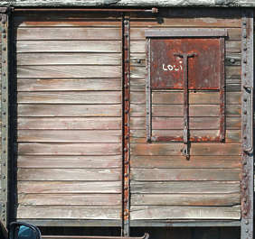 train side box cart car wood planks window old rust