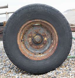 UK wheel tire old rusted thread rubber