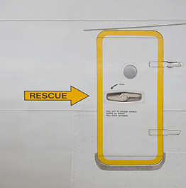 aircaft metal door exit rescue aircraft airplane