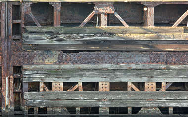 bulkhead dock wall wood metal old sluice