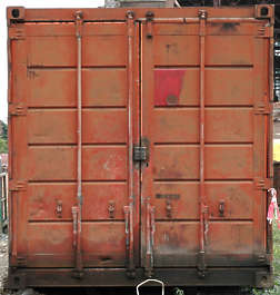 metal container shipping old front side