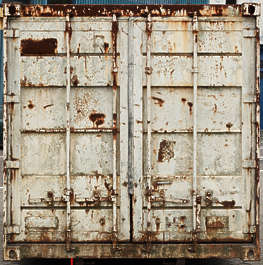 container rusted front door