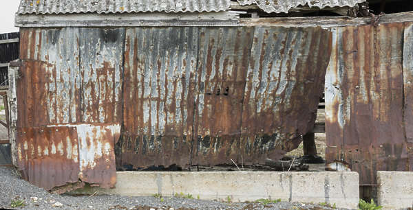 UK metal plates rusted old barn shed