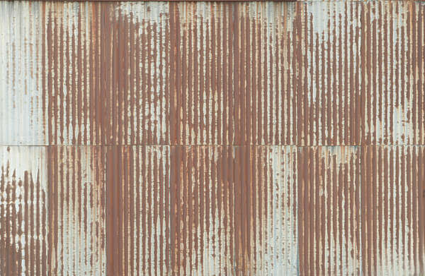 Rusted Corrugated Metal Fence