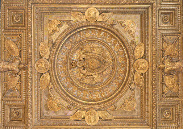 ceiling ornate gilded gold ornament panel france