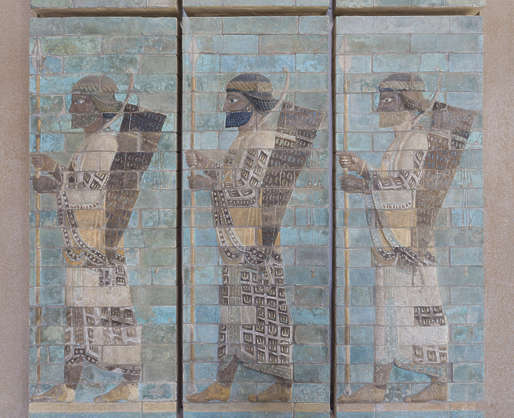 sumerian tiles ornament people ornate mural painting