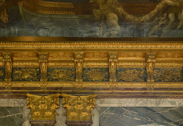 ornament gold gilded Versailles border ceiling