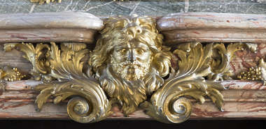 ornate ornament gold gilded face head curl