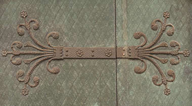 ornament ornate hinge door church curls medieval old bronze