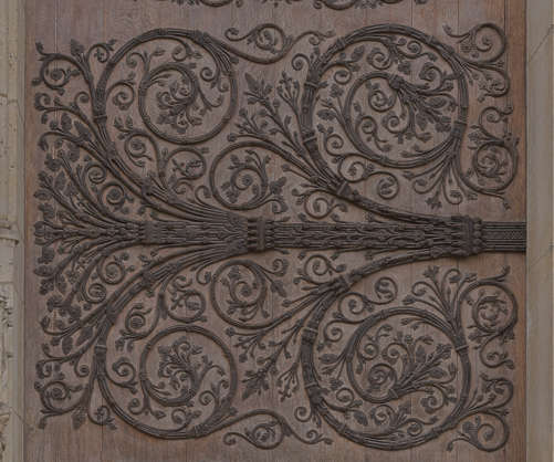 ornament ornate hinge door old church wrought iron