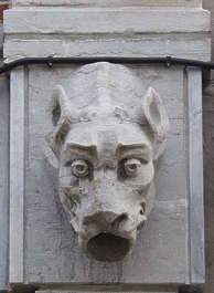 statue ornament hound head stone