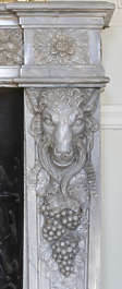 marble mantle fireplace goat relief