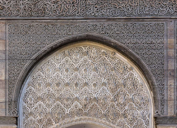 morocco location:medersa-bounana moorish stucco ornate wood carved carving