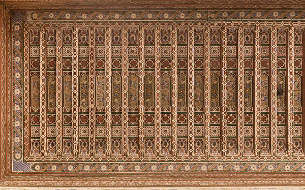 morocco ceiling ornate wood painted ornament