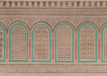 morocco stucco ornament ornate moorish border location:medersa-meknes