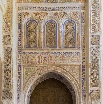 morocco stucco ornament ornate moorish temple location:medersa-meknes